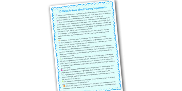 10 Things To Know About Hearing Impairments Information Sheets - 10, things, hearing, impairments, hearing impairments, information, listening, hearing impairment information