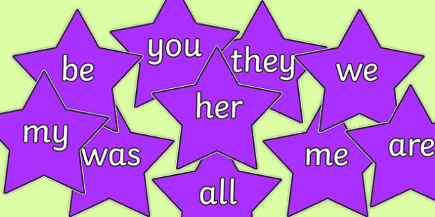 Phase 3 Coloured Tricky Words on Stars - phase 3, coloured, tricky words