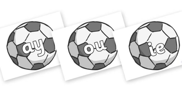 Phase 5 Phonemes on Footballs - Phonemes, phoneme, Phase 5, Phase five, Foundation, Literacy, Letters and Sounds, DfES, display