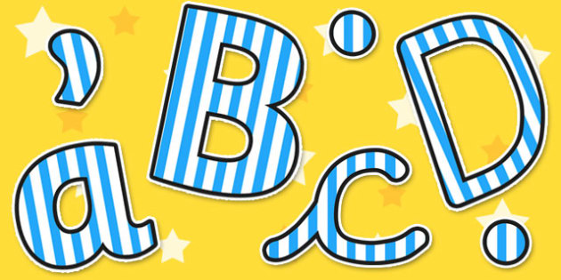 Blue Striped Themed Size Editable Display Lettering - display