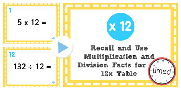Multiplication Division Facts for 12 Times Table PowerPoint Test