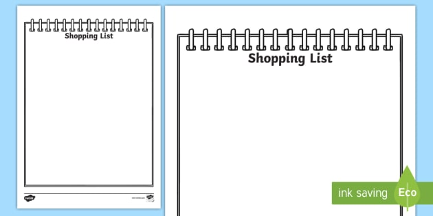 Role Play Shopping Lists  Shopping List Shopping Role Play