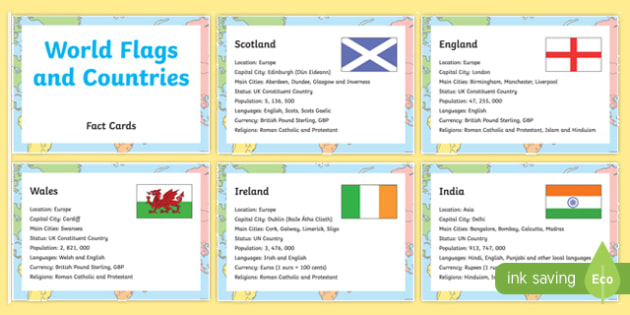 World Flags and Countries Display Fact Cards - display, fact card