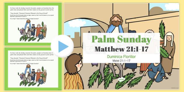 Palm Sunday PowerPoint Romanian Translation - romanian, christianity, religion, powerpoints