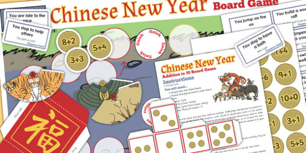 Addition to 10 Chinese New Year Board Game - board game, add