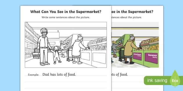 Supermarket Writing Stimulus Picture