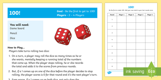 100 Maths Game - Maths Warm-up gamesdice gamestage 4 gamestage 5 gamestage 6 gamewhole class gamegroup game