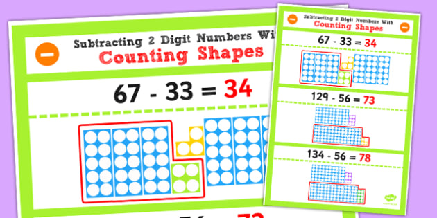 Year 2 Subtracting 2 2 Digit Numbers Tens Using Counting Shapes