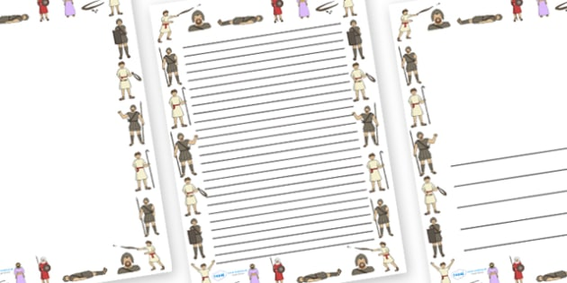David and Goliath Page Borders - David and Goliath, David, King Saul, Goliath, page border, border, writing template, writing aid, writing, Philistine army, Israelite, sling, stones, sling and stones, death, kill, small, giant, clever