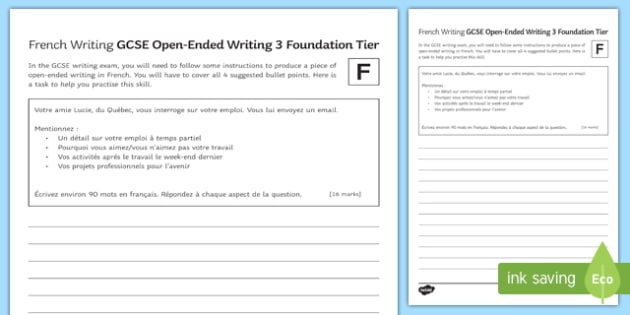 GCSE French Open Ended Writing 3 Foundation Tier Worksheet / Activity Sheet-French