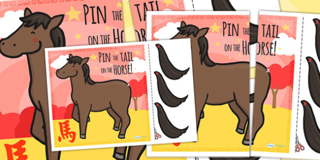 Chinese New Year Pin The Tail On The Horse - chinese new year