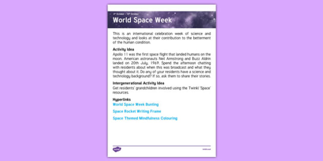 Elderly Care Planning October 2016 World Space Week - Elderly Care, Calendar Planning, Care Homes, Activity Co-ordinators, Support, October 2016