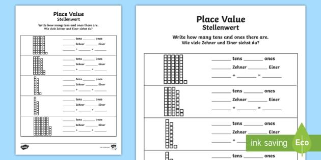place value worksheet worksheet english german maths numbers tens. Black Bedroom Furniture Sets. Home Design Ideas