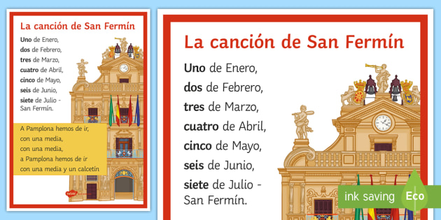 San Fermín Festivities Traditional Song Lyrics Spanish - traditions