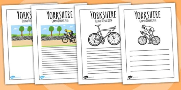 Yorkshire Grand Depart Writing Frames - tour de france, write