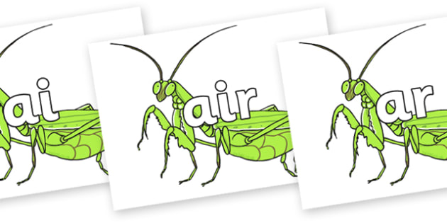 Phase 3 Phonemes on Praying Mantis - Phonemes, phoneme, Phase 3, Phase three, Foundation, Literacy, Letters and Sounds, DfES, display