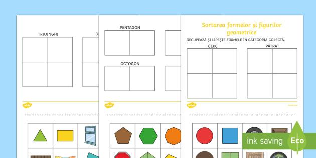 Sortarea formelor și figurilor geometrice - 2D Shape Sorting Worksheet / Activity Sheet - 2D, shapes, 2D shape, 2D shapes, shape sorting, ks1 shape, eyfs sh