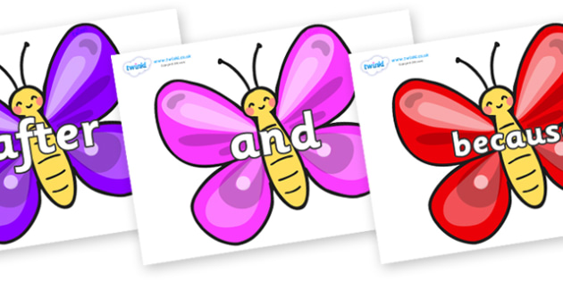 Connectives on Butterflies - Connectives, VCOP, connective resources, connectives display words, connective displays