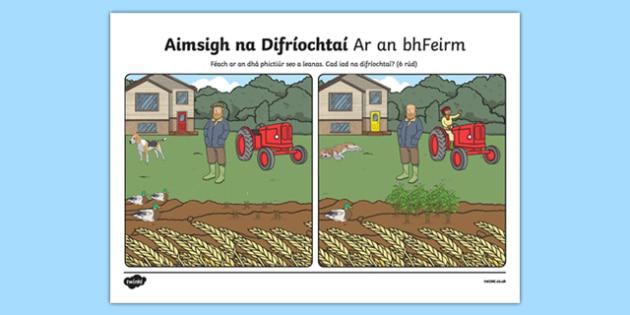 Ar an bhFeirm, Aimsigh na Difríochtaí Activity Sheet - Irish, worksheet