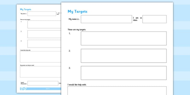 Form - target setting, pupil, form, template, progression