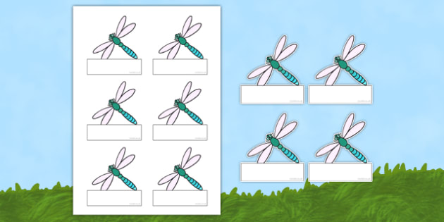 Dragonfly-Themed Editable Self-Registration Labels - dragonfly, editable, self-registration, labels