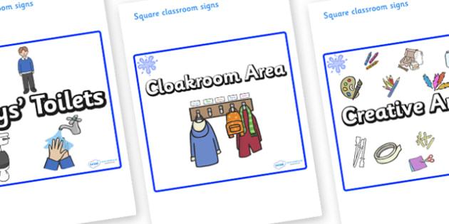 Blue Themed Editable Square Classroom Area Signs (Plain) - Themed Classroom Area Signs, KS1, Banner, Foundation Stage Area Signs, Classroom labels, Area labels, Area Signs, Classroom Areas, Poster, Display, Areas