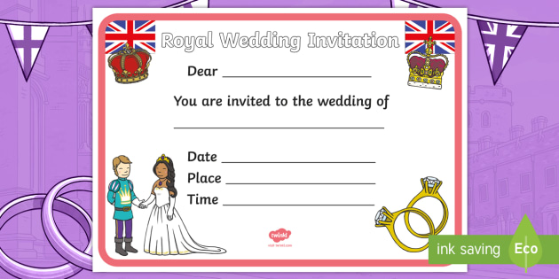 Design a royal wedding invitation activity harry and meghan design a royal wedding invitation activity harry and meghan writing invite ks1 stopboris Choice Image