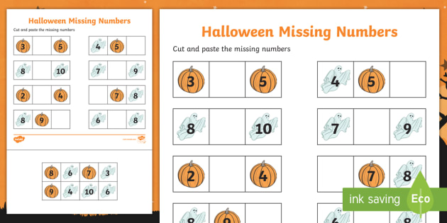 Halloween Themed Missing Number 1 10 Activity Sheet