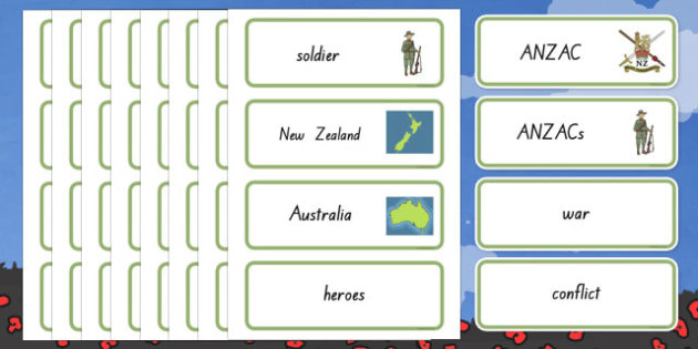 New Zealand Anzac Day Word Cards