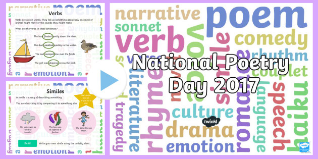 KS1 National Poetry Day 2017 PowerPoint - 28.9.17, poems, writing poetry, english, y1 and y2