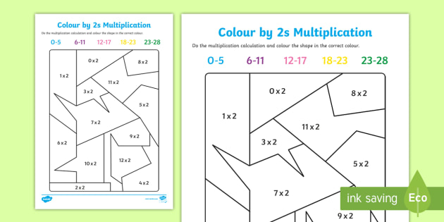 Colour by 2s Multiplication - tinmes tables, multiply, colours