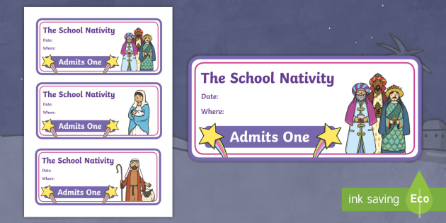 Editable Nativity Tickets - editable, nativity, tickets, play, role play