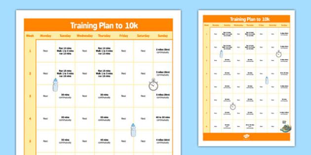 Beginner 10km Programme Poster - training, running, fitness, run, plan, planner