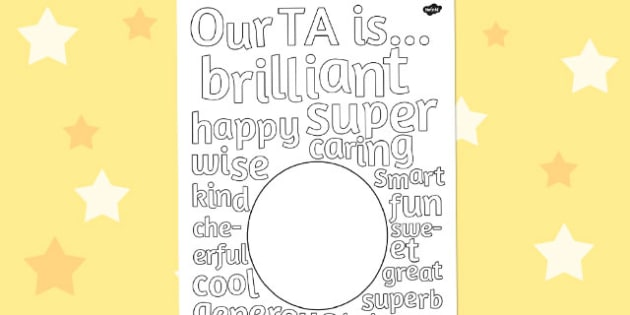 Class Gift to TA Describing Words Drawing and Colouring Sheet