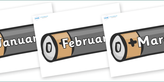 Months of the Year on Battery - Months of the Year, Months poster, Months display, display, poster, frieze, Months, month, January, February, March, April, May, June, July, August, September