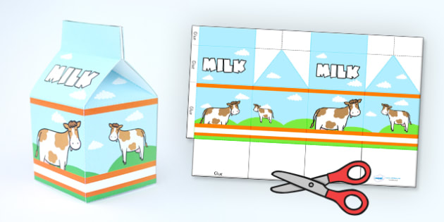 Milk Carton Net Template - carton, net, shape net, net template