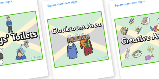 Jamaica Themed Editable Square Classroom Area Signs (Plain) - Themed Classroom Area Signs, KS1, Banner, Foundation Stage Area Signs, Classroom labels, Area labels, Area Signs, Classroom Areas, Poster, Display, Areas
