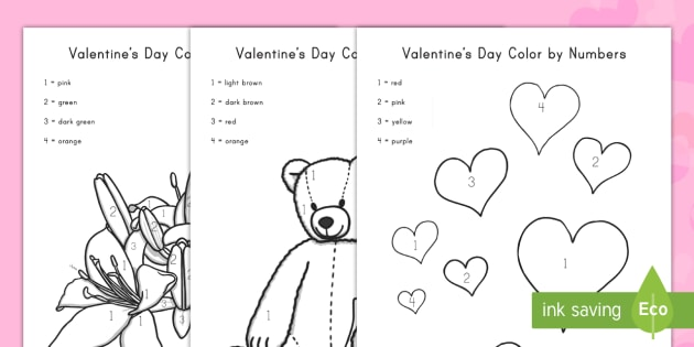 valentine 39 s day color by numbers activity sheets worksheets. Black Bedroom Furniture Sets. Home Design Ideas