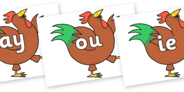 Phase 5 Phonemes on Hullabaloo Rooster to Support Teaching on Farmyard Hullabaloo - Phonemes, phoneme, Phase 5, Phase five, Foundation, Literacy, Letters and Sounds, DfES, display