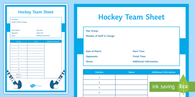 Hockey: Team Sheet Editable Proforma - Invasion, Winter, Game