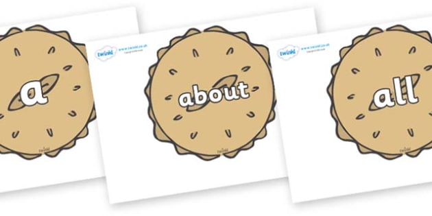 100 High Frequency Words on Pies - High frequency words, hfw, DfES Letters and Sounds, Letters and Sounds, display words