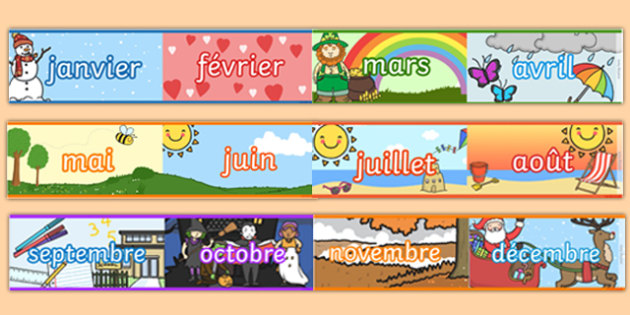 Months Of The Year Display Borders French French Months Year