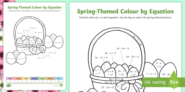 Spring Themed Colour By Equation Worksheet (teacher made)
