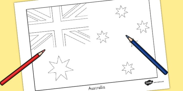 Australia Flag Colouring Sheet - countries, geography, flags