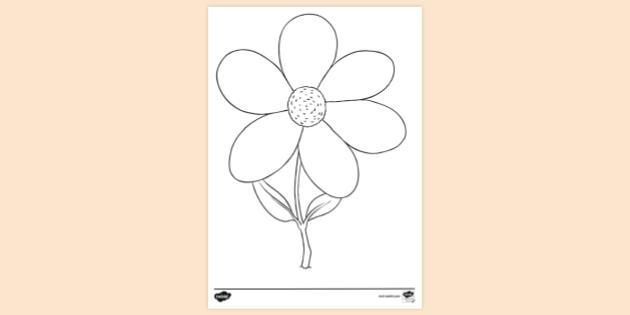 Free Printable Simple Flower Coloring Page Colouring Sheet