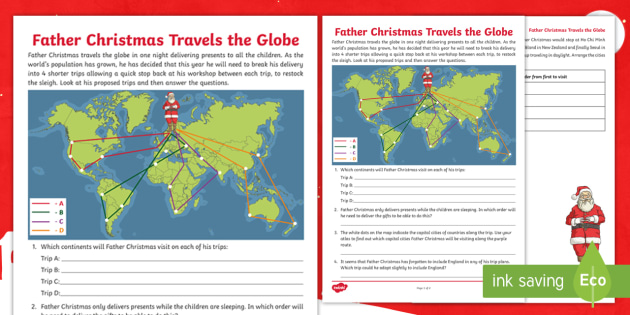 Father Christmas Travels the Globe Worksheet / Activity Sheet