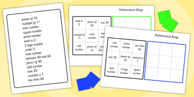 Mathematical Bingo - mathematical, maths, numeracy, numbers, bingo, bingo games, maths bingo, maths games, numeracy games, classroom games, games