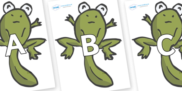 A-Z Alphabet on Froglets - A-Z, A4, display, Alphabet frieze, Display letters, Letter posters, A-Z letters, Alphabet flashcards
