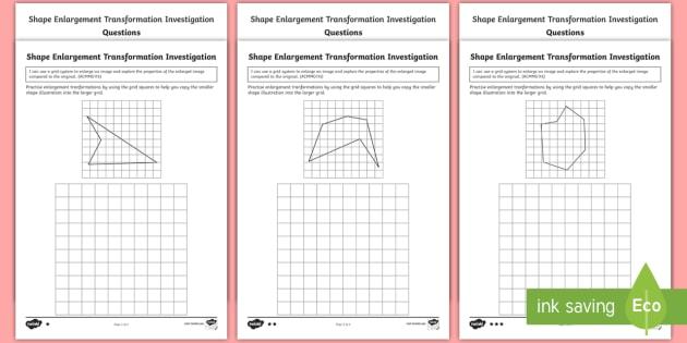shape enlargement transformation investigation differentiated. Black Bedroom Furniture Sets. Home Design Ideas