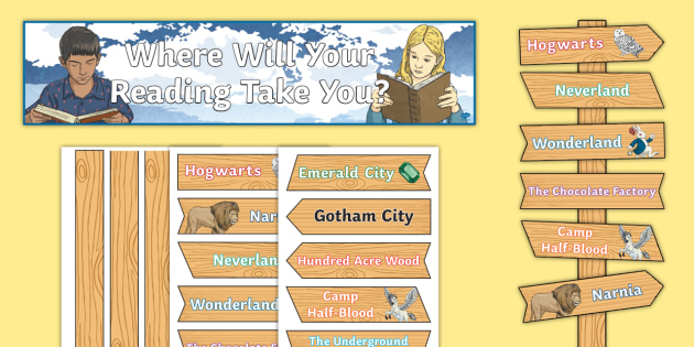 KS2 Where Will Your Reading Take You? Display Pack - KS2 Display Resources, books, settings, novels, fiction